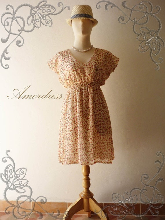 SALE - Amor Vintage Inspired- Flower Garden- Red Tangerine Autumn Rose Bud -Butterfly Cap Sleeve Sweet Chiffon Dress