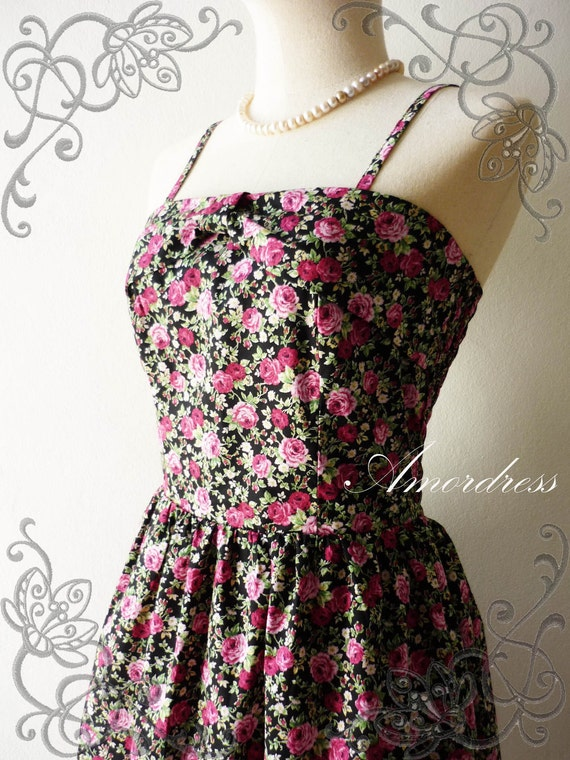 29 USD DRESS -Sale---- Amor Vintage Inspired- Flower Garden- Pink Rose Bud Sweet Halter Cotton Dress -Fit XS/S-