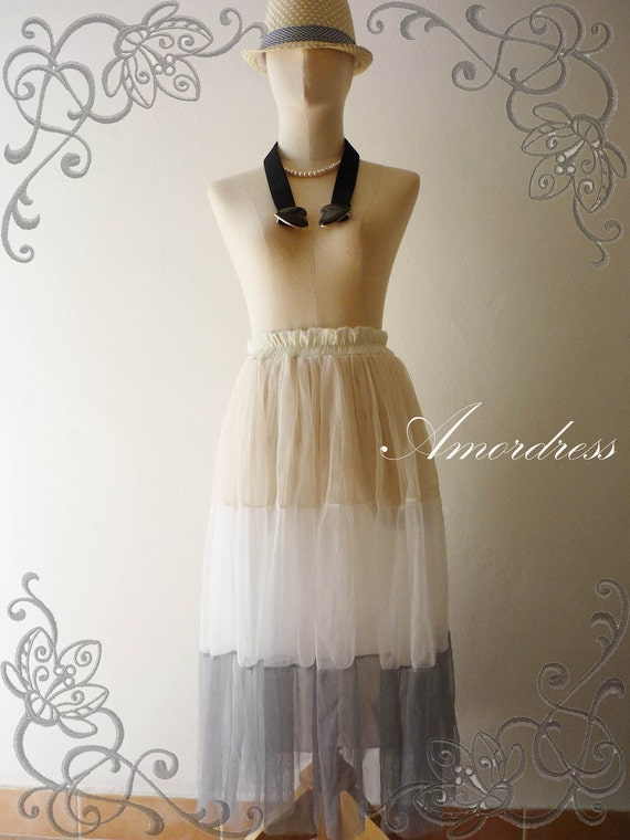 Angel On Earth -Im a Tulle SKIRT-  Vintage Inspired Playful Tutu Long Skirt Mix and Match - Great photo option ( see through)