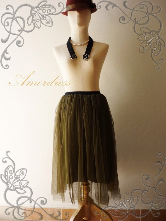 NEW--Im a Tulle SKIRT, sometimes a Mini DRESS - Green Love- Vintage Inspired Playful Tutu Long Skirt Mix and Match