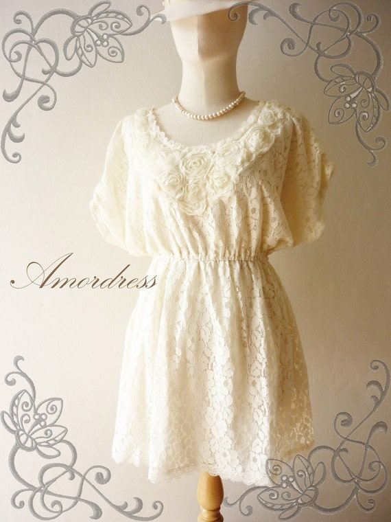 Amor Vintage Inspired- Floral Princess- Sweet Vintage Style Butterfly Sleeve Ivory White Cream Flower Filigree Lace Mini Dress or Tunic