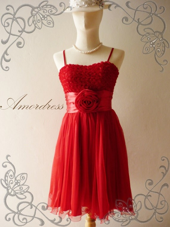 SALE  -- Amor Vintage Inspired- Romanic Girl - Flower Tulle Gorgeus Mini Dress in Hot Red for Wedding, Prom, Party -XS and S-