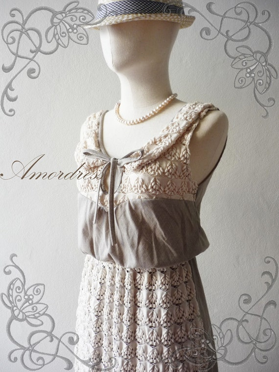 Amor Dress Vintage Inspired-  Be My Darling- Vintage Retro Mix Square Brown-Gray and Lovely Lacy Chilling Maxi Dress or All Occasion