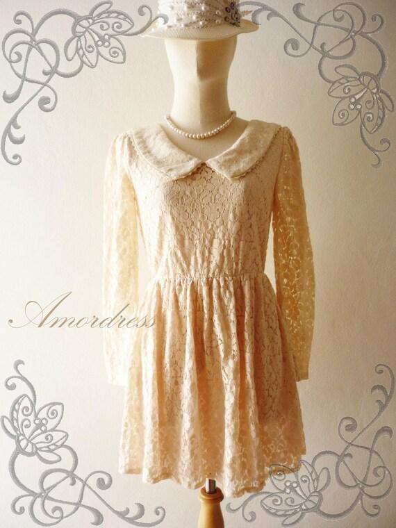 29USD SALE--Amor Vintage Inspired- Vintage Lady- Sweet Vintage Feminine Style Long Sleeve Pale Pink Flower Filigree Mini Lace Dress or Tunic