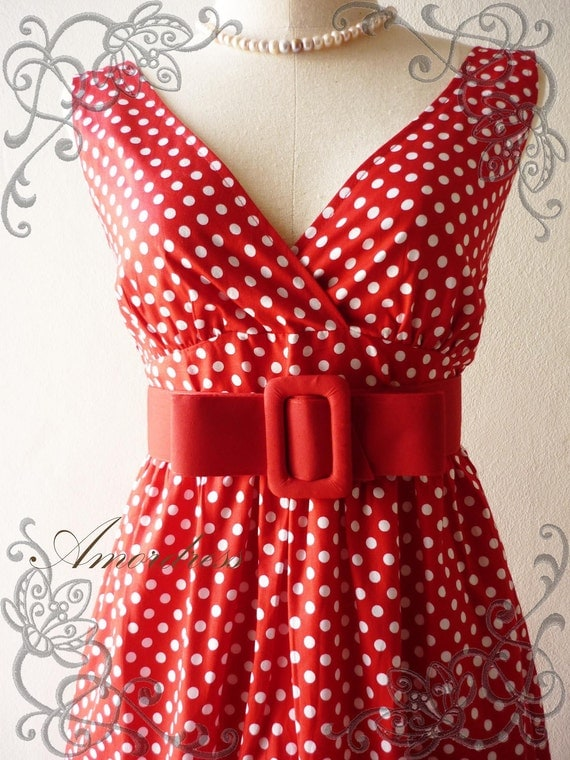 Amor Vintage Inspired-  Retro PoLkA DoT-in Red Dress Cocktail Cotton Dress Free Belt  Party or Everyday Dress -Fit size S-M-