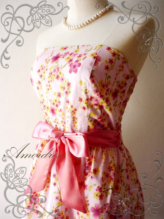 Amor Vintage Inspired- Spring Floral-  Sakura Blossom Strapless Cocktail Cotton Dress in Pink Shade -XS-S-