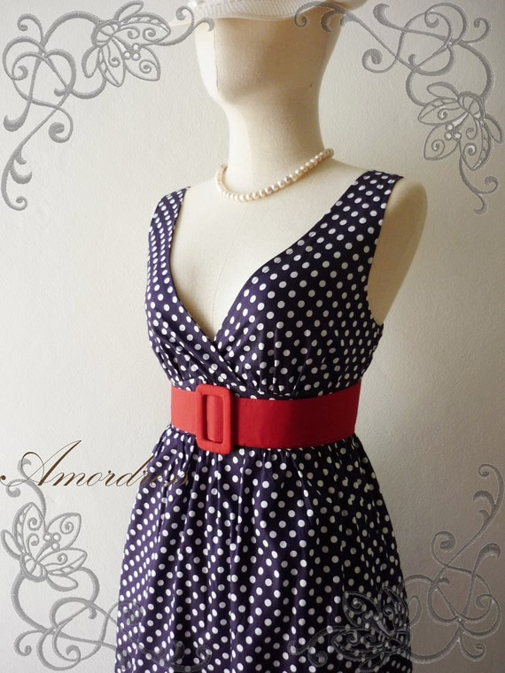 Retro Summer Navy Polka Dot Dress Vintage Inspired Cocktail Cotton Dress in Navy Shade Party or Everyday Dress -S-M-