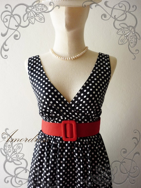 Polka Dot Love - Retro Summer Dress Vintage Inspired Cocktail Cotton Dress in Black Shade Party or Everyday Dress -S-M-