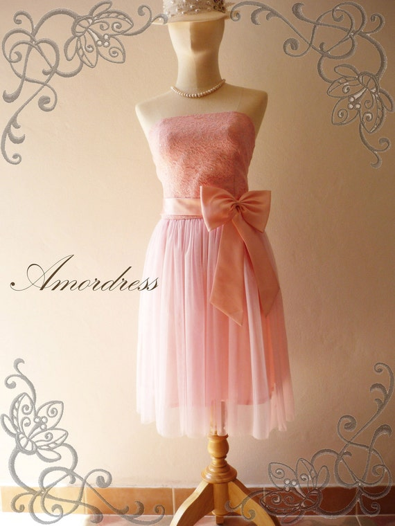 Amor Vintage Inspired- Princess Romance- Strapless Gorgeous Lace Tulle Formal Dress in Pink  for Wedding, Prom, Any Special Day