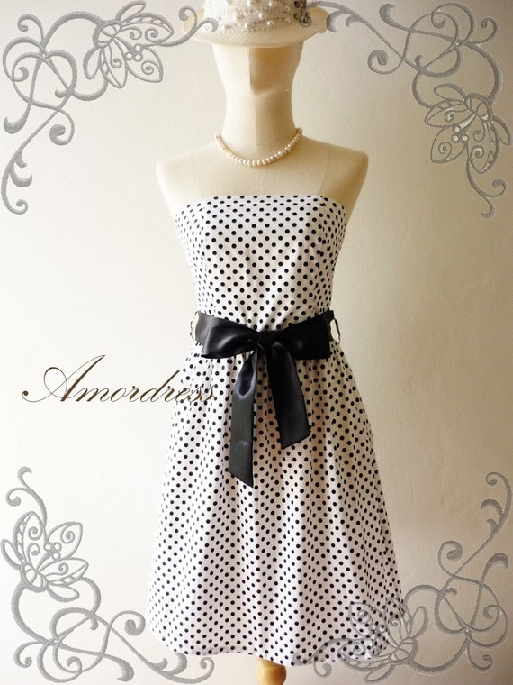 NEW---Amor Vintage Inspired- ReTrO PoLkA DoT-  Strapless Cocktail Cotton Dress Chic B&W Shade -XS-S-