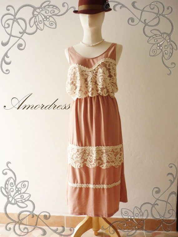 Amor Dress Vintage Inspired- In Love with Me- Earthtone Pink Lacy Retro Vintage Mix Maxi Dress