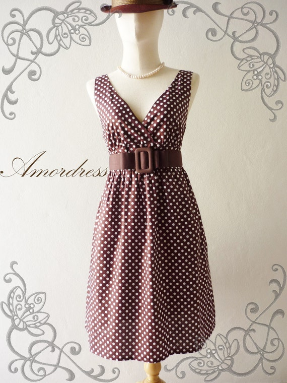 Vintage Inspired Dress PoLkA DoT Cocktail Dress in Dark Brown Shade Party or Everyday Dress -S-M-