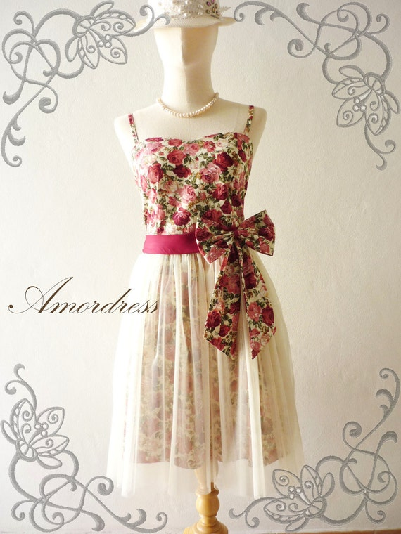 LIMITED---Amor Vintage Inspired- Princess Romance-  Romantic Rose Tulle Dress for Wedding, Prom, Any Occasion- Fit XS-S-