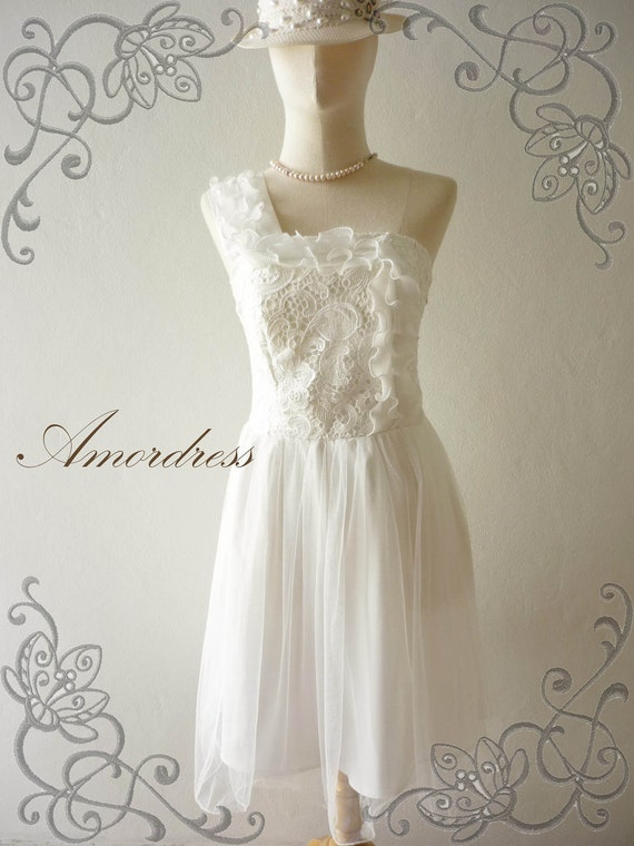 Amor Vintage Inspired- Romanic Girl -One Shoulder White Sweet Tulle Dress for Wedding, Prom, Dinner, Party -Fit XS-S-