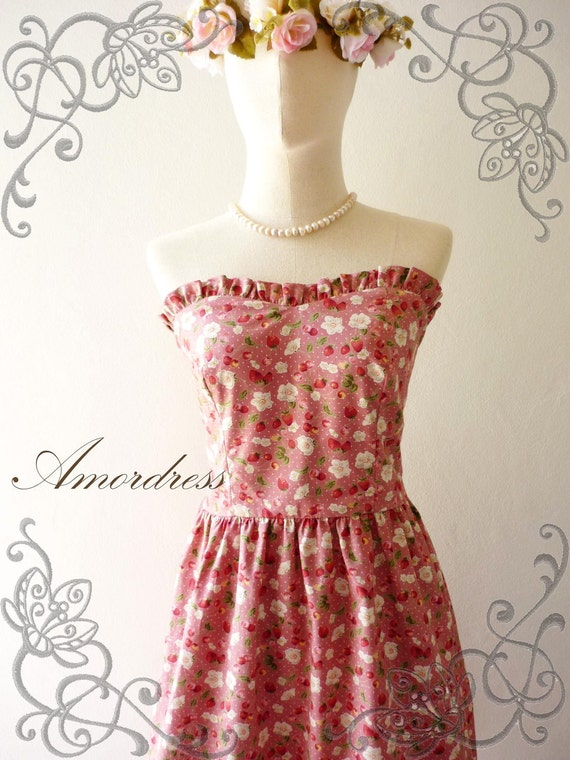 NEW--Amor Vintage Inspired- Once Upon a Time- Fantasy Strawberry Cotton Dress for Any Occasion-Fit S-M-