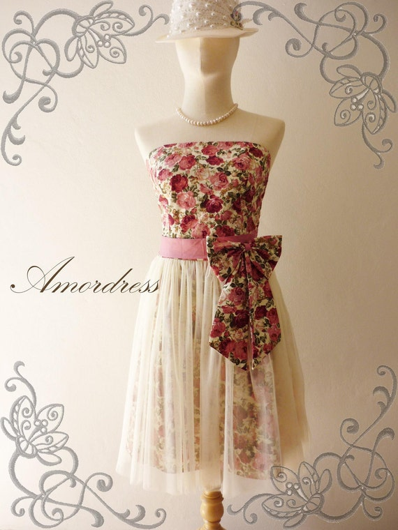 LIMITED--Amor Vintage Inspired- Princess Romance- Romantic Rose Tulle Dress for Wedding, Prom, Any Occasion-XS-S-