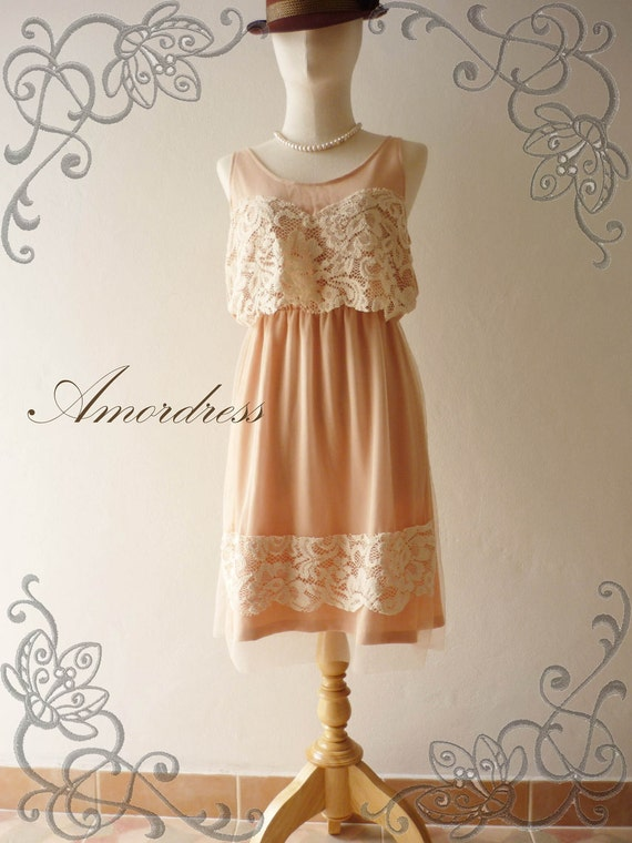Amor Dress Vintage Inspired- In Love with Me-Vanilla Ice Cream - Lacy Retro Vintage Mix Mini Sun Dress Sleeveless Size S-M