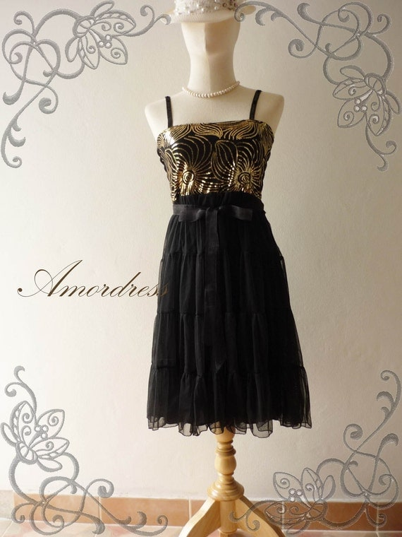 HOT SALE  Amor Vintage Inspired- - Gorgeous Bling Sun Dress Bright Black Dress for Beach Party, Party , Everyday Every Occasion -XS and S-