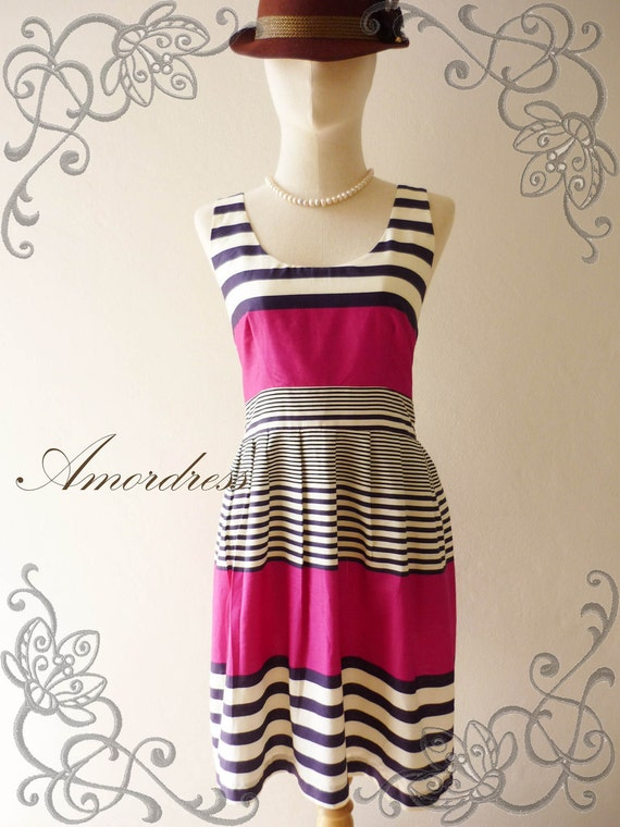 Summer Dress Amor Vintage Inspired- Chilling Princess-Jazzy Magenta-Purple Shade Cotton Dress for Any Occasion-Fit S-M-