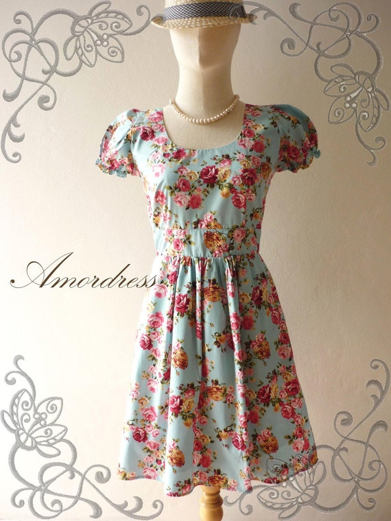 Amor Vintage Inspired Lovely Dolly Girl  Pastel Blue Pink Rose Urban Sweet Baby Doll Cotton Dress -Fit S-M -