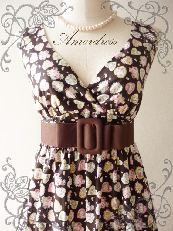 """SALE Amor Vintage Inspired- Vintage Retro- Brown and Pink Heart Vintage Cotton Dress Party or Everyday Dress 35""""length"""