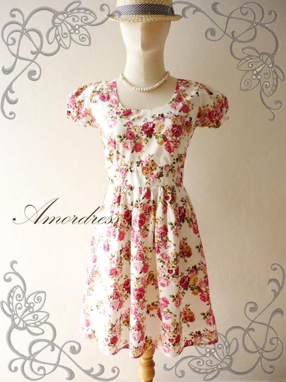 Floral Dress // Pink Rose Dress // Tea Party Dress // Garden Dress // Vintage Inspired Dress -S-M -