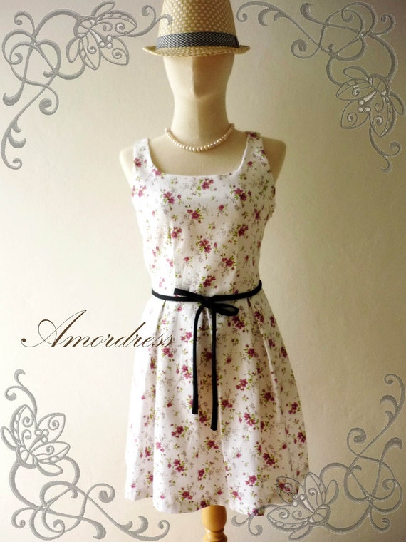 HOT SALE--Amor Vintage Inspired- Envy Me- Purple Floral -Retro SweetCotton Dress -Fit XS-S -