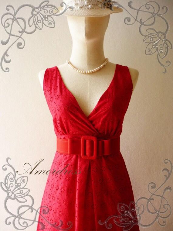 HOT SALE Amor Vintage Inspired- Vintage Retro- Hot Red Floral Elegant Cotton Lace Dress for All Occasion