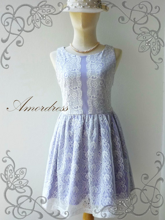 Amor Vintage Inspired- Please Me- Gorgeous Handmade Whimsical  Lace Dress in Purple Shade -  Fit Size XS-S-
