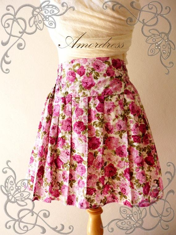 Princess SKIRT Floral Wonderland Pink Rose Vintage Flare Pleat Style Mini Skirt Mix and Match