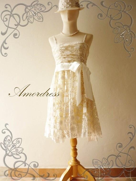 HOT SALE--Amor Dress Vintage Bohemian- - Silver Glitter on White Bohemian Lace Dress -Fit XS-S-