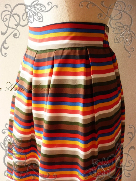 HOT SALE--Im a Lovely SKIRT -- Summer is Here- Vintage Inspired Playful Colorful Stripe Mid Skirt Mix and Match