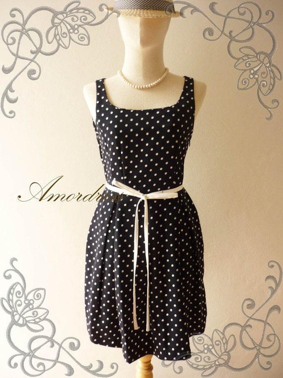 SALE ..Amor Vintage Inspired 1950's Inspired Polka Dot Sleeveless Dress- Envy Me-  -Fit XS-S -