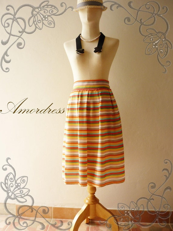 Vintage Inspired Playful Colorful Stripe Mid Skirt Mix and Match
