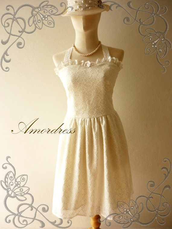 Amor Vintage Inspired Adorable Neck Tie White Lace Dress Wedding Prom Party Dress for Any Occasion - Once Upon A Time-  Size S-M-