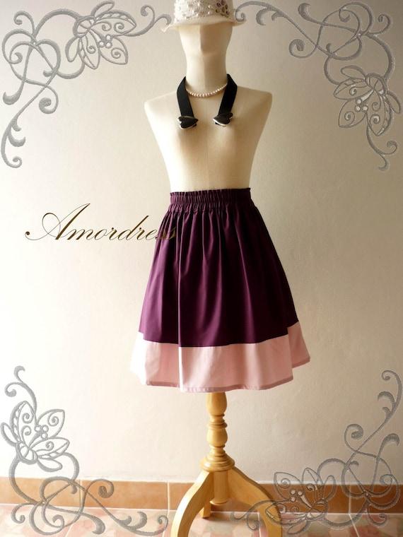 HOT SALE Vintage Retro Style Handmade Two Tone Purple Skirt Mix and Match -Rainbow Ice Cream-