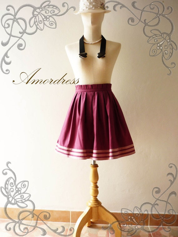 Amor Vintage Inspired 1965'S Inspired Raspberry Purple Vintage Pleat Style Skirt ..NEW ..Princess SKIRT- Ice Cream Skirt