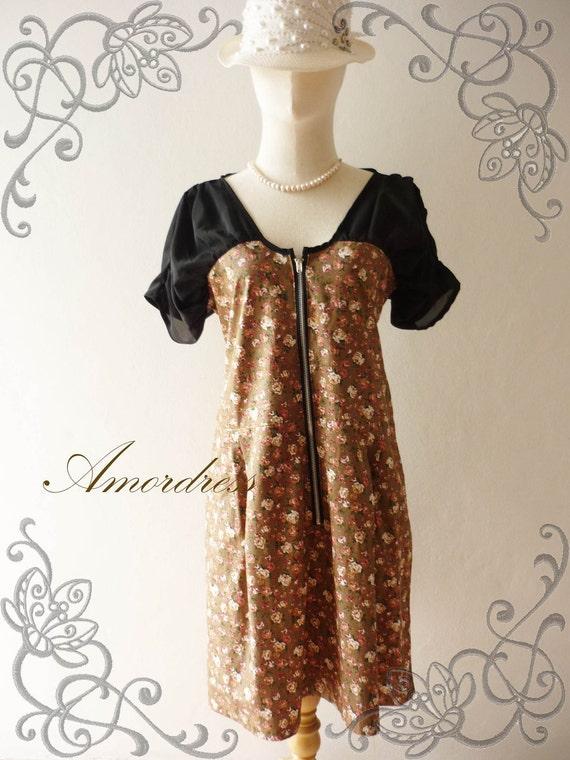 HOT SALE Vintage Inspired Brown Vintage Floral Dress -Size L-
