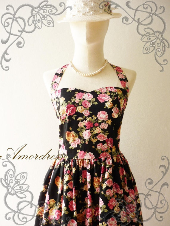 Amor Vintage Inspired Romantic Pink Floral Vintage Dress Neck Tie Style - Once Upon A Time-  Size S-