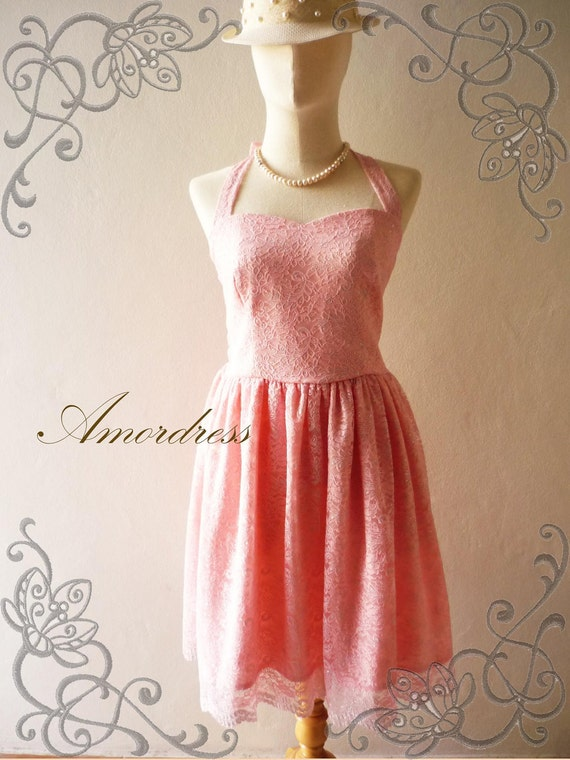 SALE Pink Lace Dress Amor Vintage Inspired Wedding Prom Party Dress for Any Occasion - Once Upon A Time-  Size S-M-