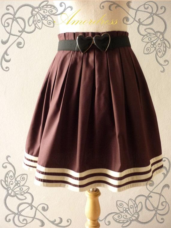 Amor Vintage Inspired 1965'S Inspired Chocolate Brown Vintage Pleat Style Skirt ..NEW ..Princess SKIRT- Ice Cream Skirt