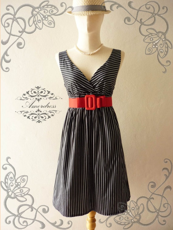 HOT SALE -  Amor Vintage Inspired Vintage Retro Chic Stripe Cocktail Cotton Dress in Black and White Party or Everyday Dress