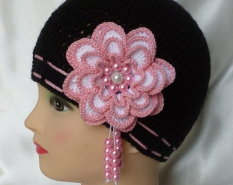 Instant Download Crochet PDF Pattern - MISS ROSY crocheted hat for girls with big 4 layers flower