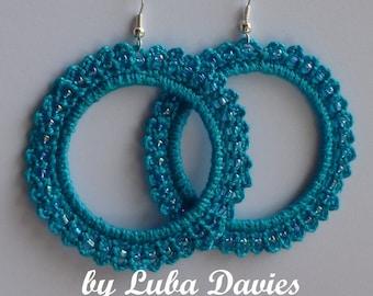 Instant Download Crochet PDF Pattern - Earrings-hoops LACE