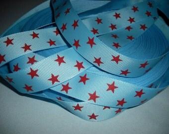 RED STARS on Blue GROSGRAIN 7l8 inch Ribbon 5 yds