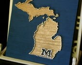"Little Michigan Love // 9""x9"" Nail and String Tribute to the Great Lakes State"