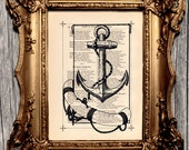 Sea Boat Ship Anchor Nautical Vintage Art Print Engraving Illustration Recycled Dictionary Art Upcycled Antique Book