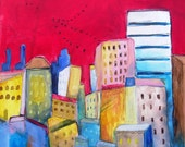 """Abstract Cityscape Painting, Modern Art on Canvas """"Red Sky Overhead"""""""
