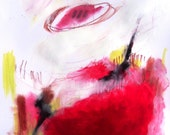 """Abstract Painting on Paper, Original Red Modern Art """"Open to Solutions"""""""