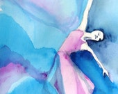 "Figure Painting Ballet Contemporary Art ""Ballerina with Pink and Blue"""
